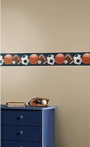 RoomMates Sports Balls Peel and Stick Wallpaper Border | Removable | Kids Room Decor
