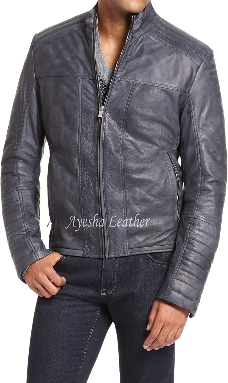 Ayesha Mens Leather Jackets Motorcycle Bomber Biker Genuine Lambskin 74