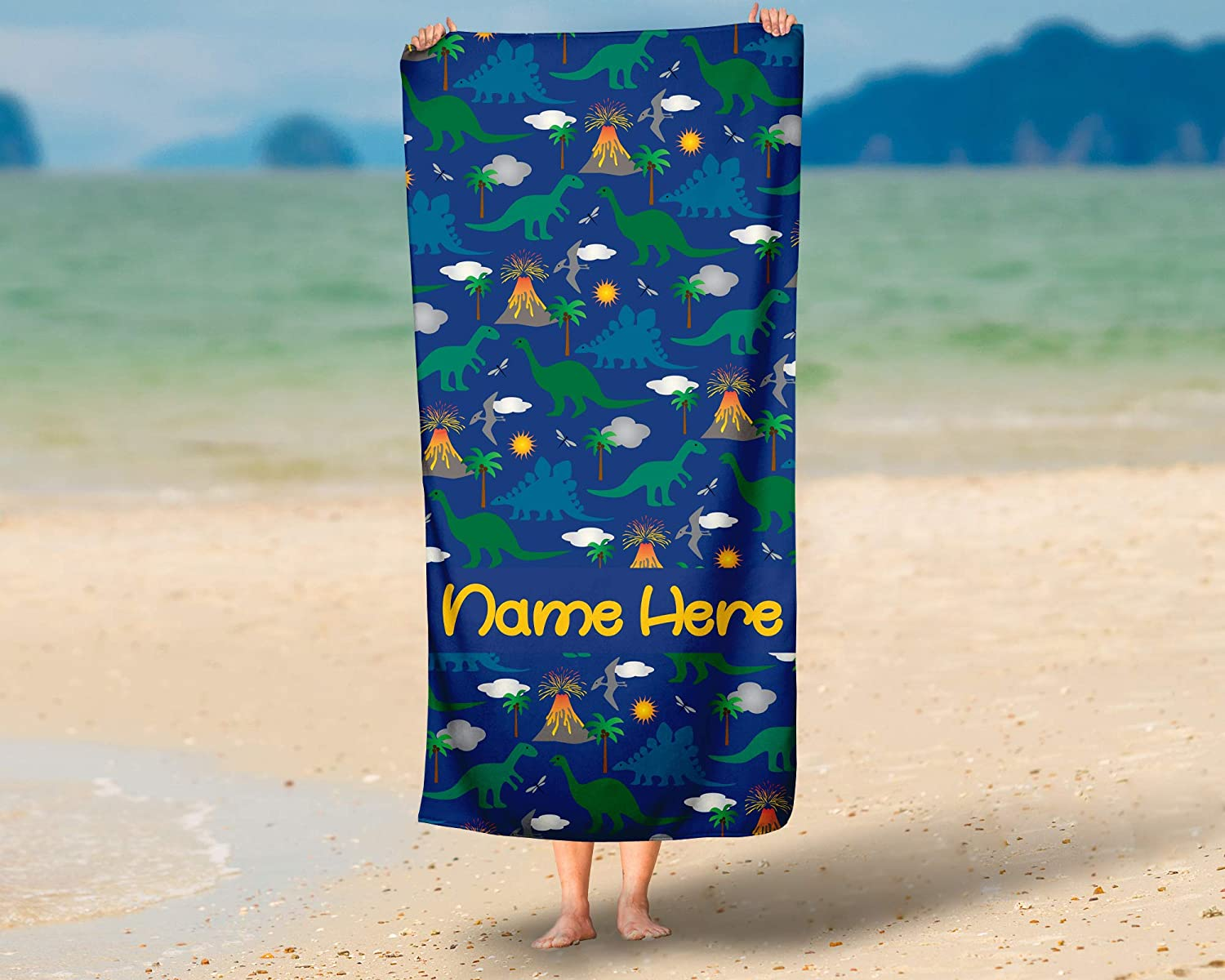 Amazon com: Extra Large Personalized Dinosaur Towel for Kids