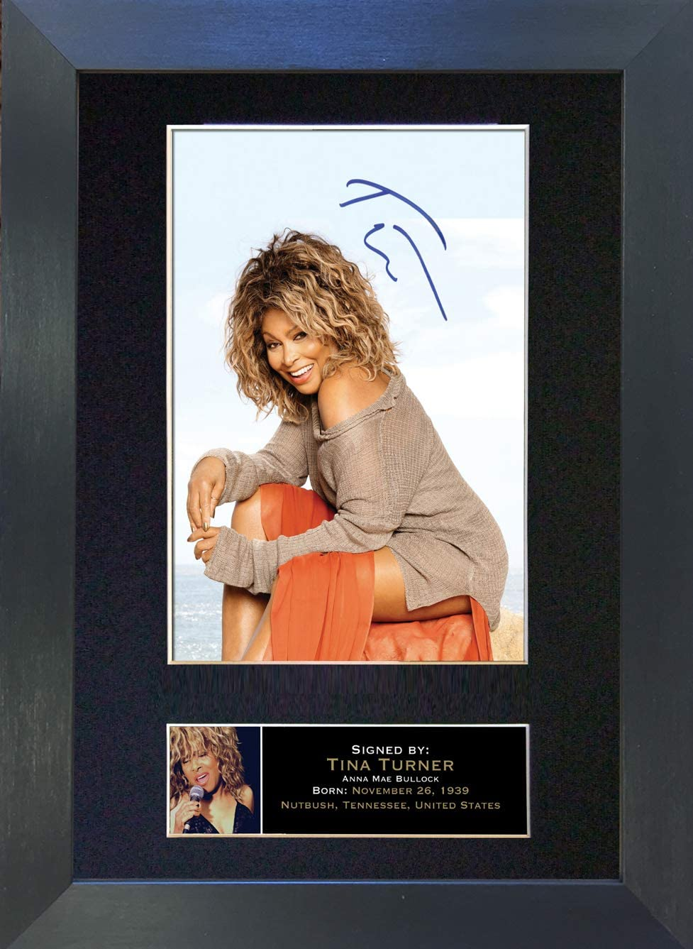 Black Frame The Gift Room #245 Tina Turner Signed MOUNTED Photo Autograph Re-Print A4