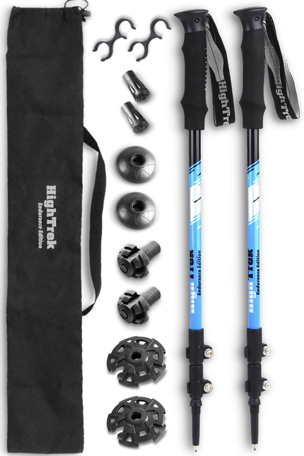 High Trek Ultralight Trekking Poles w/Sweat Absorbing EVA Grips - 2 pc Pack - Your Collapsible Hiking/Walking Sticks Come with Tungsten Tips and Flip Locks - Enjoy The Outdoors