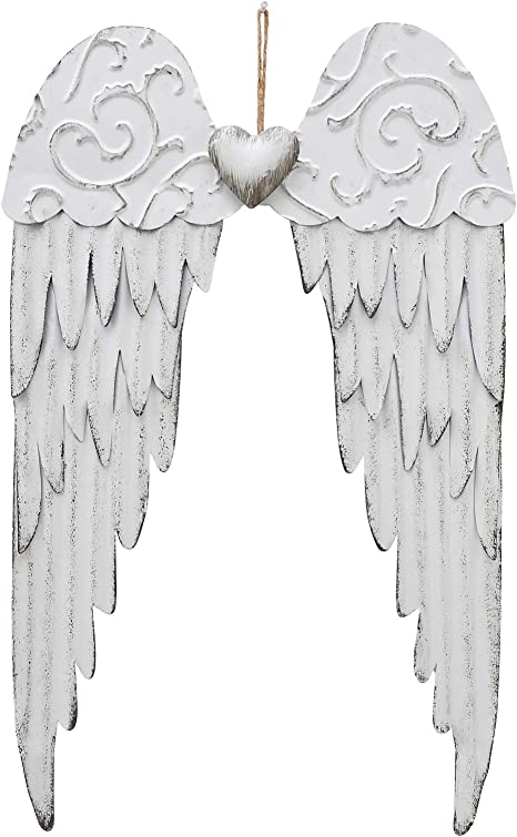 Metal Angel Wings Plaques with Heart - Decorative Angel Wing Sculptures