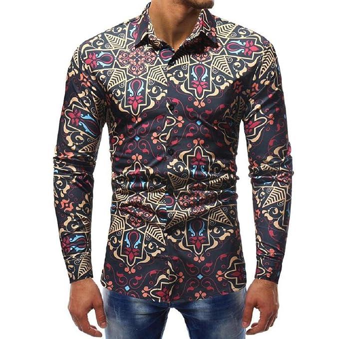 Blusa Hombre Yesmile Camiseta Blusa Impresa de la Manera del Hombre Camisas Ocasionales de Manga Larga