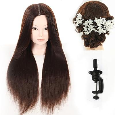 """27""""Yaki sintético pelo peluquería maniquí de entrenamiento cabeza de maniquí con abrazadera soporte y regalos"""