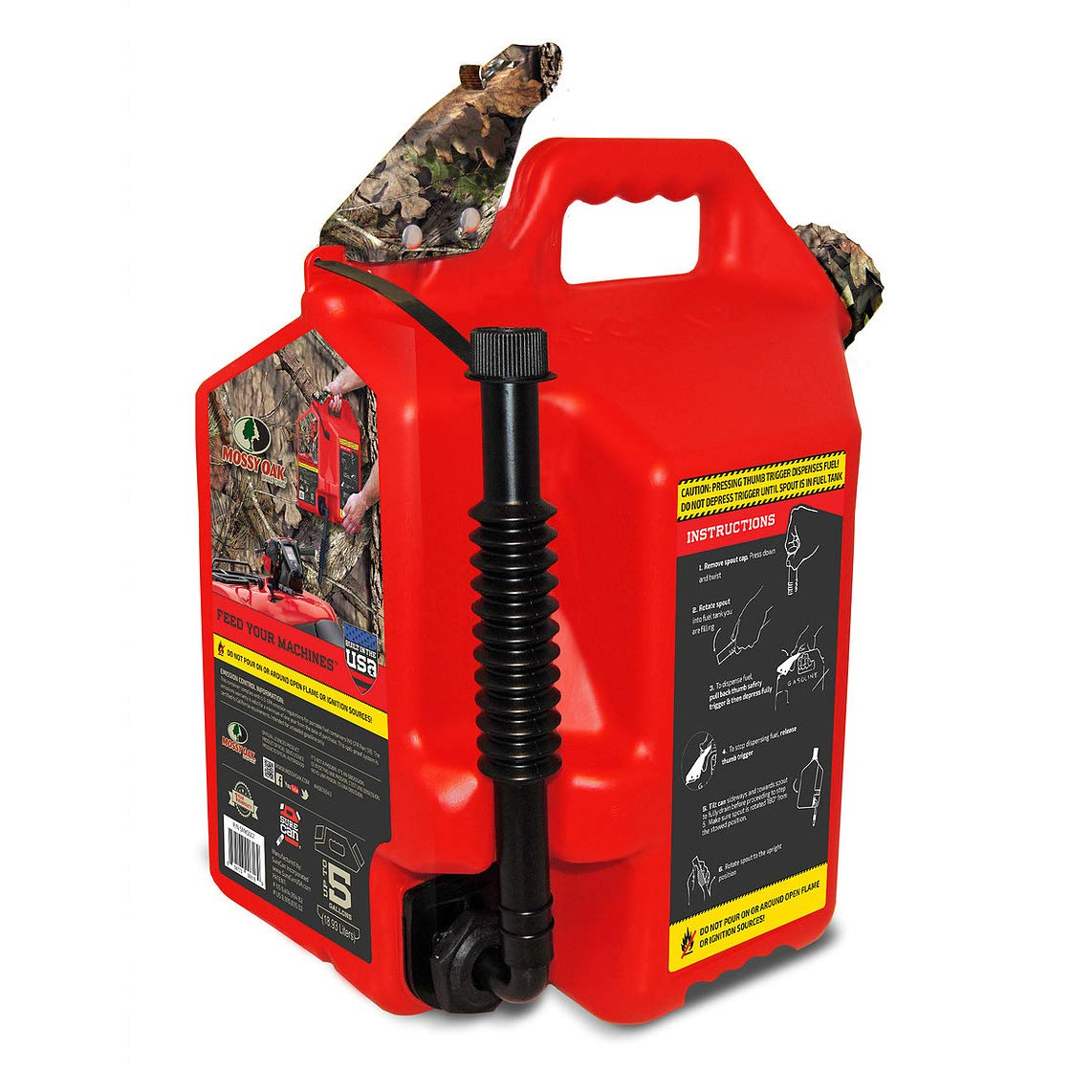 Surecan Flex 5 Gallon Total Flow Control Mossy Oak Hunting Fuel Container, Red
