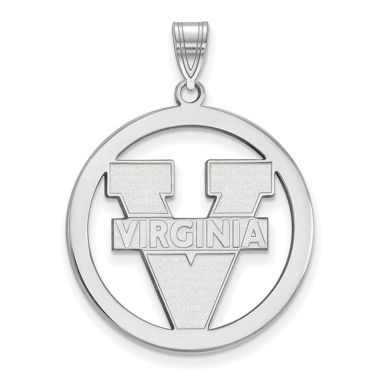 925 Sterling Silver Rhodium-plated Laser-cut University of Virginia Large Circle Pendant