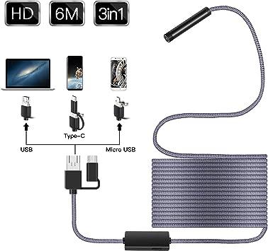 C/ámara de Inspecci/ón 3 en 1 USB//Micro USB//Tipo-C Endoscopio Android 2,0 Megap/íxeles Impermeable HD Boroscopio Semirr/ígido Cable Tuber/ías con 6 LED para Computadora y Telefonos Android,10m
