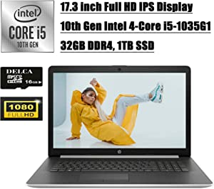 """HP Laptop 17 Newest 2020 Business Laptop Computer I 17.3"""" Full HD IPS I 10th Gen Intel Quad-Core i5-1035G1(>i7-8550U) I 32GB DDR4 1TB SSD I Backlit KB WiFi HDMI Win 10 + Delca 16GB Micro SD Card"""