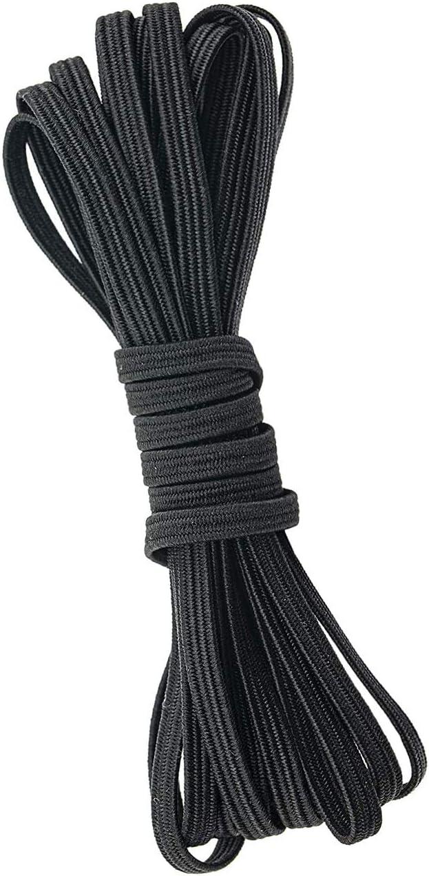 "White 10 Yards Elastic Band Cord 1//4/"" 6mm Trim string DIY Sewing Braided Black"