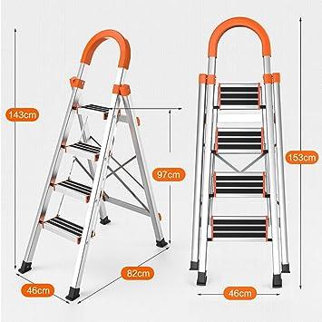 Escaleras Escalera plegable de aluminio portátil de 4 pasos, Escalera de tijera doméstica, Escalera telescópica, Escalera de tijera de loft multiusos for oficina en casa, Antideslizante: Amazon.es: Bricolaje y herramientas