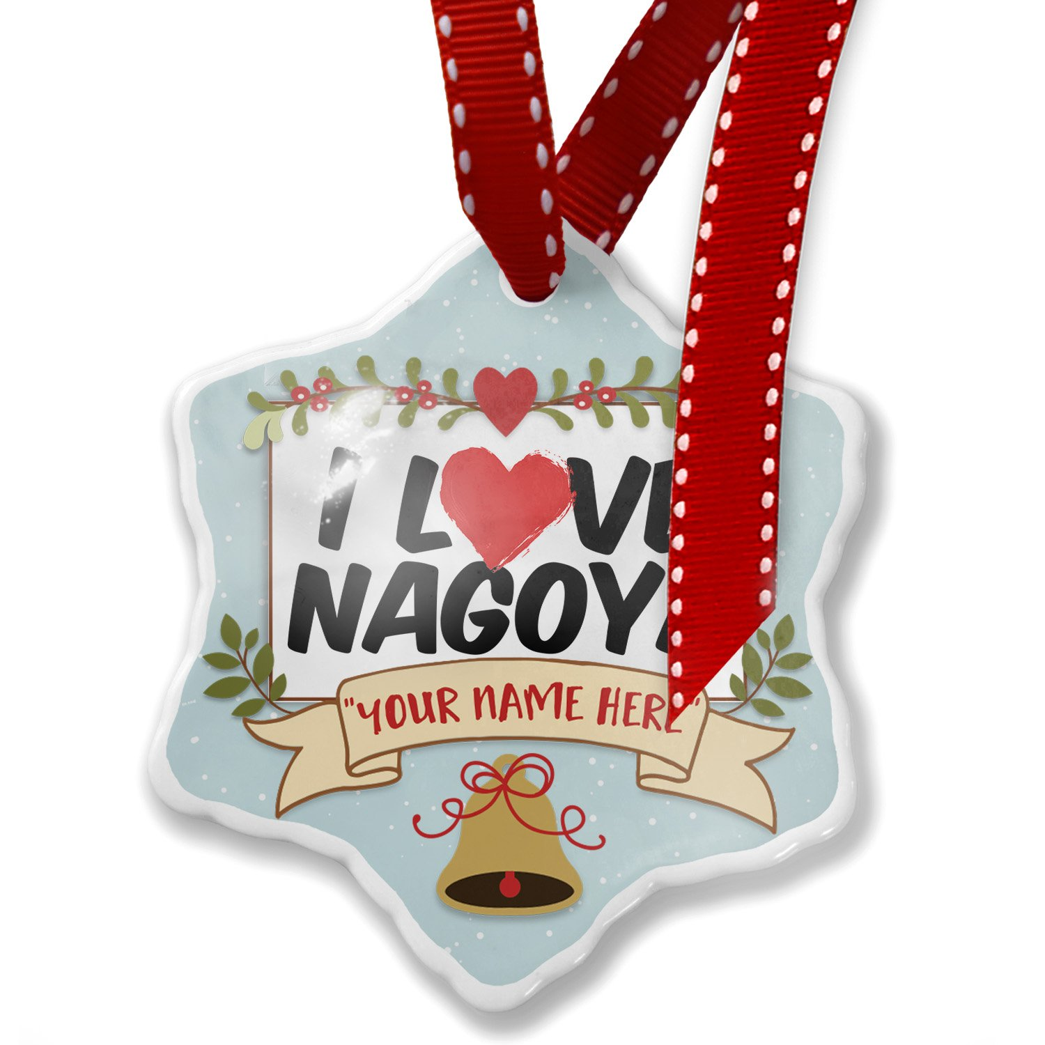 Add Your Own Custom Name, I Love Nagoya Christmas Ornament NEONBLOND