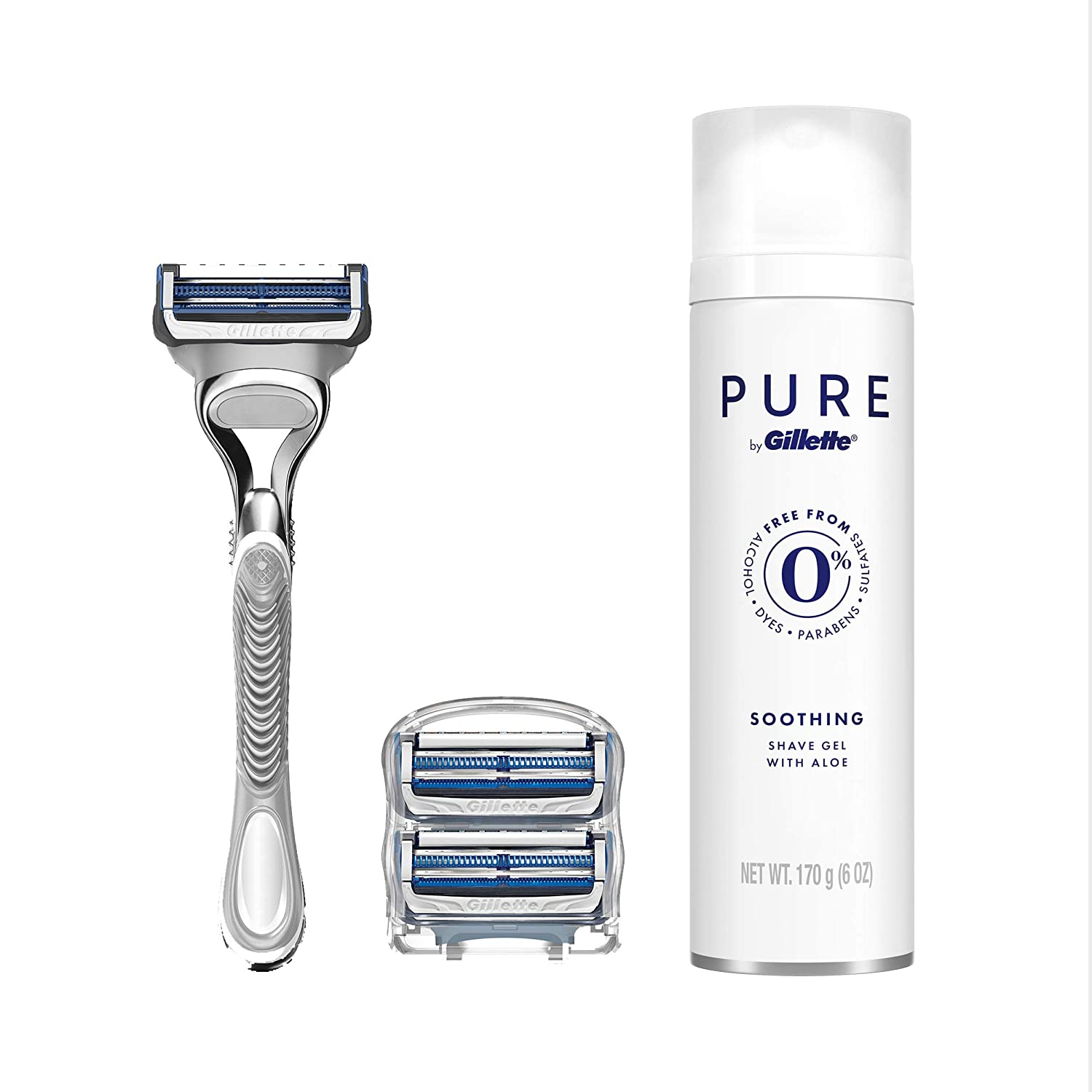 Gillette SkinGuard Men's Razor for Sensitive Skin, 3 Blade Refills + Pure Shave Gel 6oz, 1 razor + 3 Handles + Shave Gel