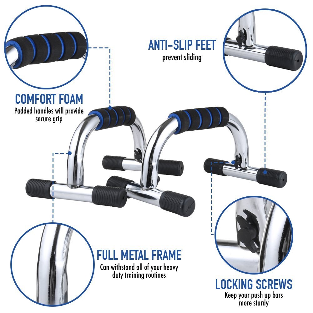 Push Up Bars Durable Pushup Handle with Comfortable Non-Slip Foam Grip Portable Push Up Stand Bar for Home Gym Fitness Muscle Training Upper Body Strength