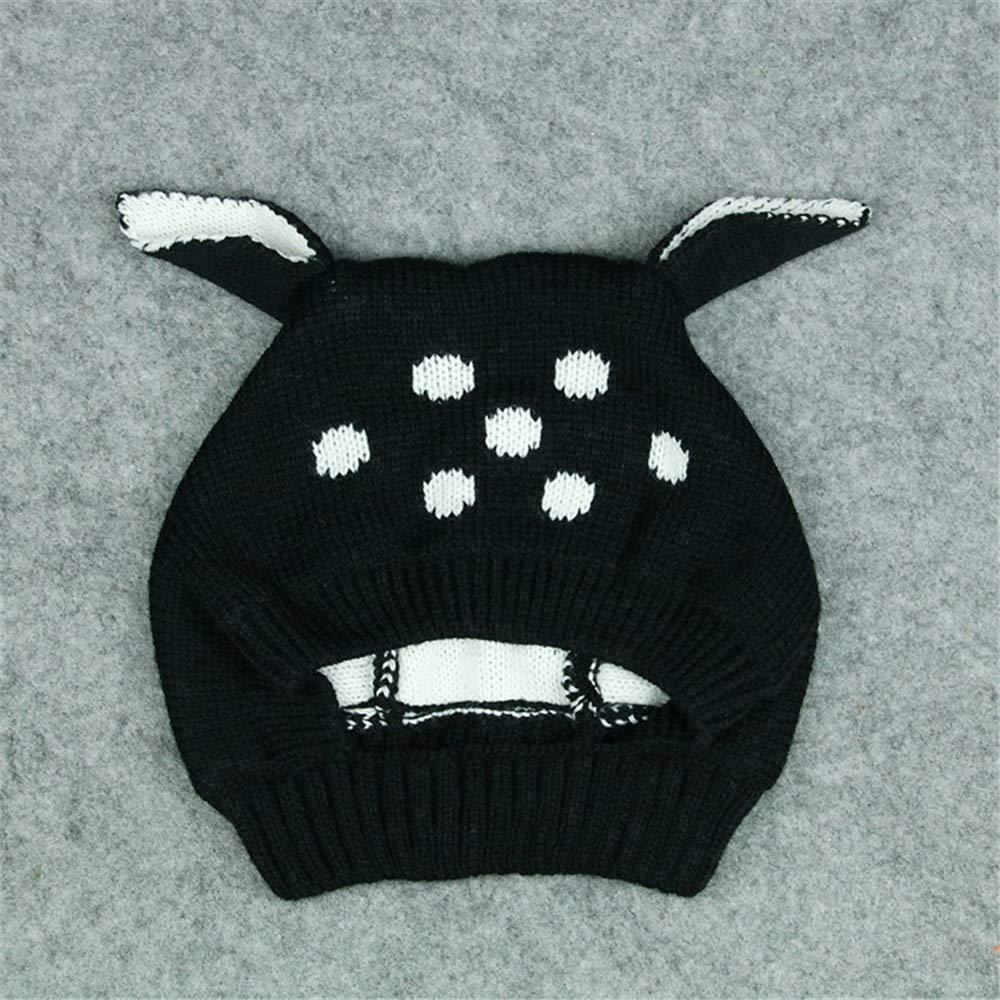 Y-WEIFENG New Sombrero de Punto de Invierno cálido Infant Toddler Negro, Kids Beanie Cap Girls Boys. (Color : Negro, Toddler tamaño : 46-50cm) cbd9ab
