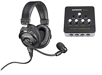9a7779526ca Amazon.com: Audio Technica BPHS1 Over-Ear Broadcast Headphones Headset w/  Mic+Headphone Amp: Musical Instruments