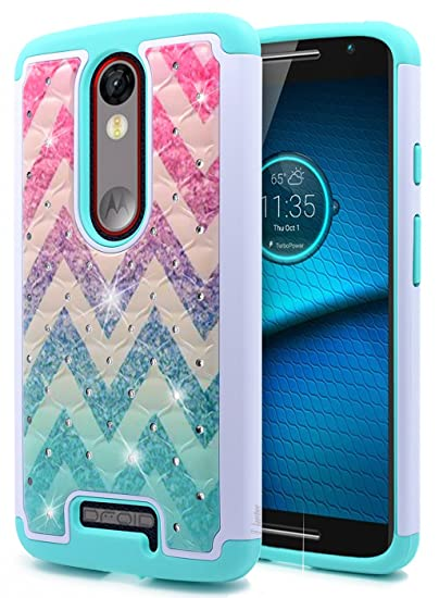 Droid Turbo 2 Case, NageBee Glitter Diamond [Hybrid Protective] Armor Soft Silicone Cover