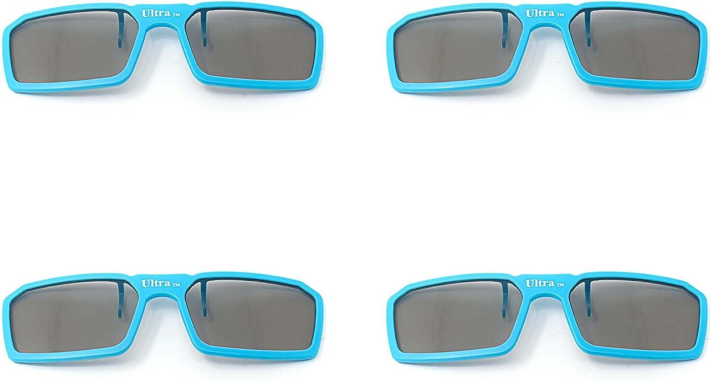 4 pares de Clip estándar nuevo 3D pasivo Universal azul gafas ...