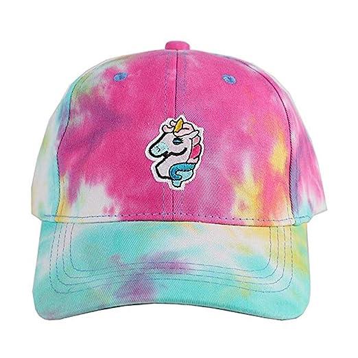 f7295fe13be29 Amazon.com  Wangyue Rainbow Embroidered Unicorn Baseball Cap Trainer ...