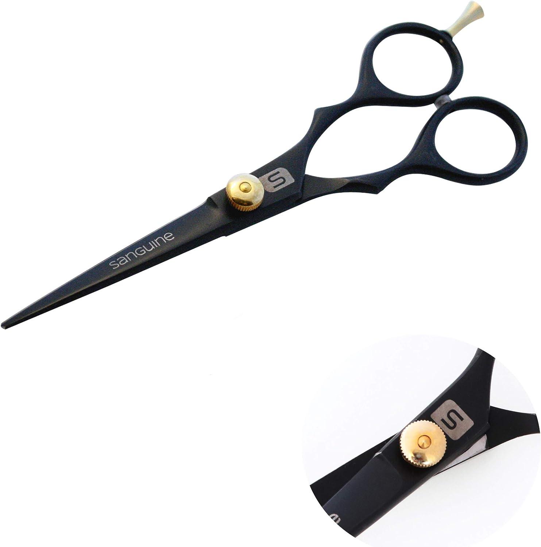 Sanguine Professional Hairdressing Scissors, 11.11 inch, 11 cm, Deep Black