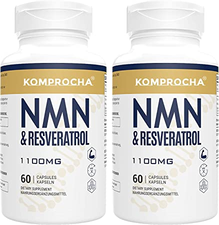 NMN + Trans-Resveratrol 99% Purity+ Black Pepper 1100mg, for Max Absorption, Powerful Antioxidant & Anti-Aging Supplements for Heart, Immune & Skin Health (120 Capsules (Pack of 2))