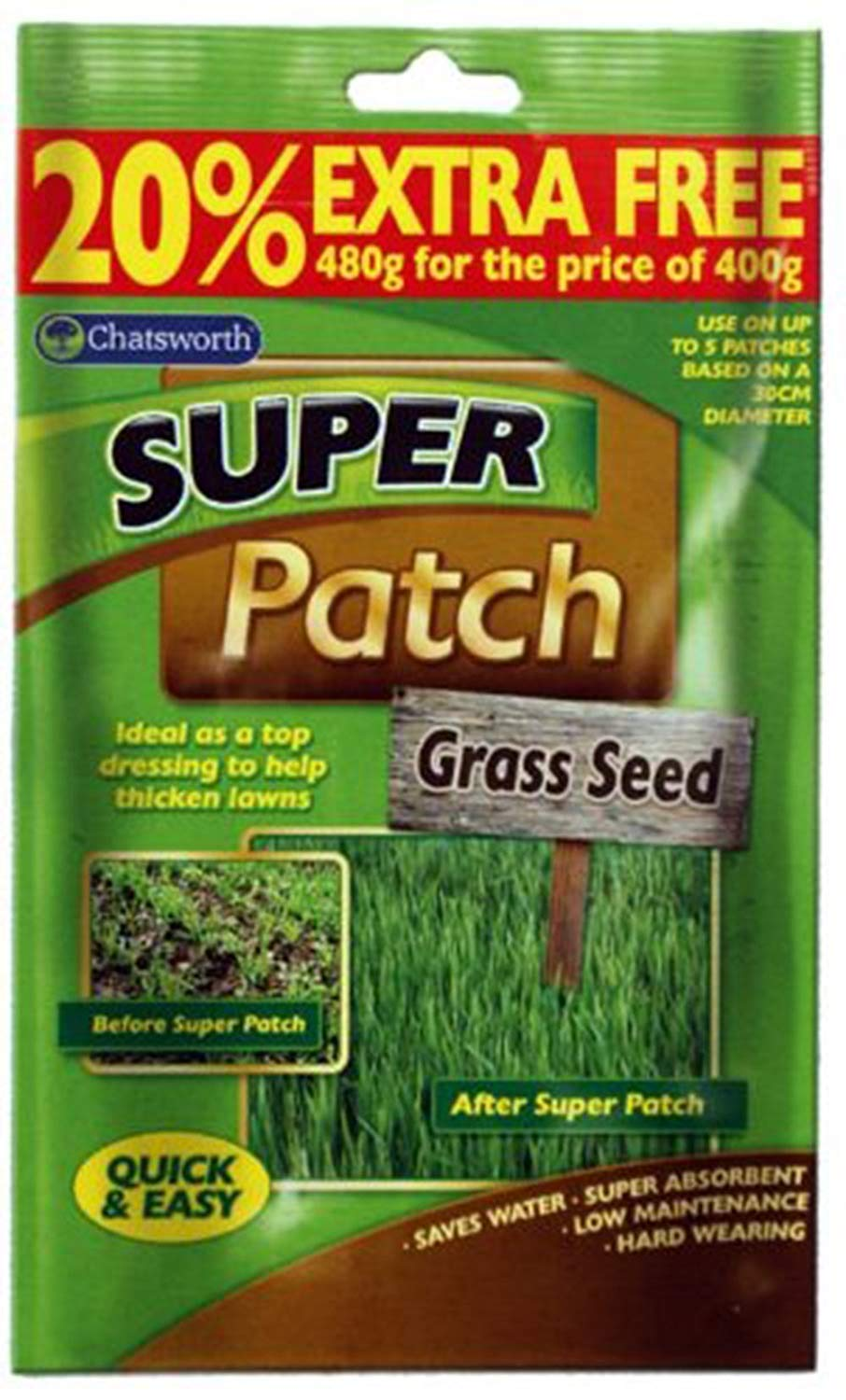 Chatsworth 4 x SUPER PATCH GRASS SEED Thickens Garden Lawn 480g Pack