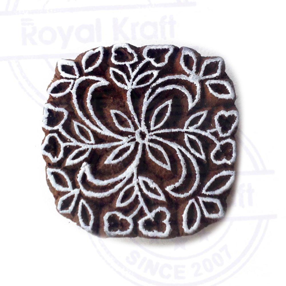 DIY Henna Fabric Textile Paper Clay Pottery Block Printing Stamp Designer Square Mandala Pattern Wood Print Textile Stamp