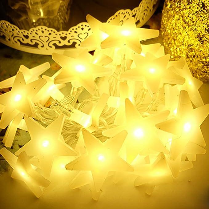 20 LED Lichterkette Batterie Hochzeit String Licht DIY Stern Pentagramm Zuhause