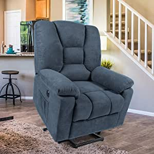 Esright Power Lift Microfiber Electric Recliner Chair with Heated Vibration Massage Sofa Fabric Living Room Chair with Side Pockets, USB Charge Port &