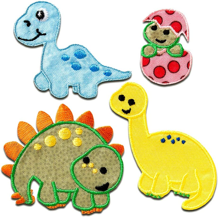 Set Dino verschiedene Größen Aufnäher // Bügelbild bunt