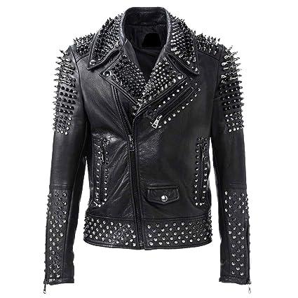 Amazon.com: Brando - Chaqueta de piel negra para motocicleta ...
