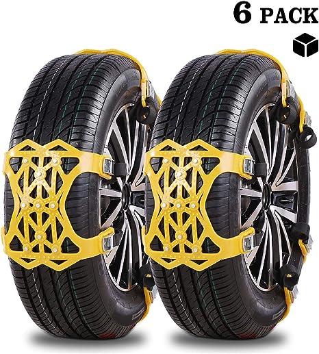 Schwarz 2018 Upgrade Universal Schneeketten UniAuto Einfach zu montieren Reifen Schneekette f/ür Jede Reifenbreite 165-285mm,6-teiliges Set,