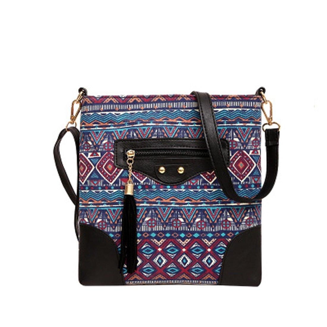 Women's Canvas Hand Bag Shoulder Bag Printing Ethnic Tassel Black Zipper (Color : 2)