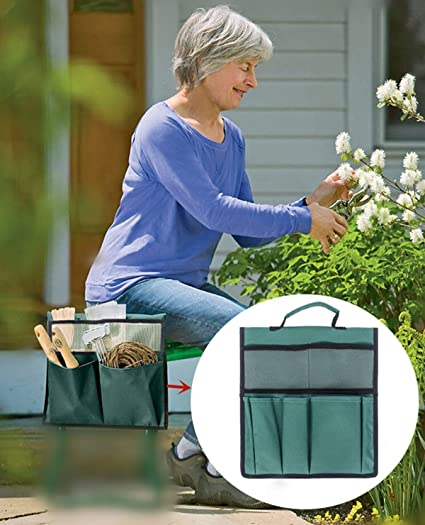 Portable for Outdoor Gardening COCO Garden Kneeler Tool Bag 600D Waterproof Hanging Organizer Green Seat Storage Tote Stool Pouch 12 x 13 inch