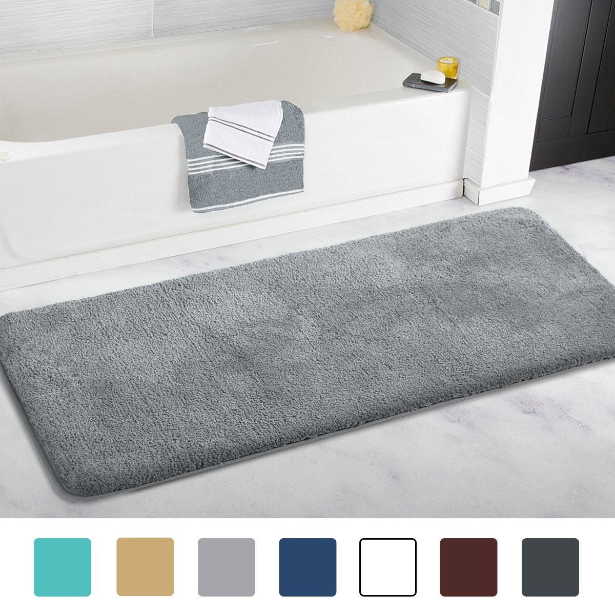 MAYSHINE Bath mat Runner for Bathroom Rugs,Long Floor mats,Extra Soft, Absorbent, Densely Woven Shaggy Microfiber,Machine-Washable, Perfect for Doormats,Tub, Shower(27.5X47 inch White) MS170266