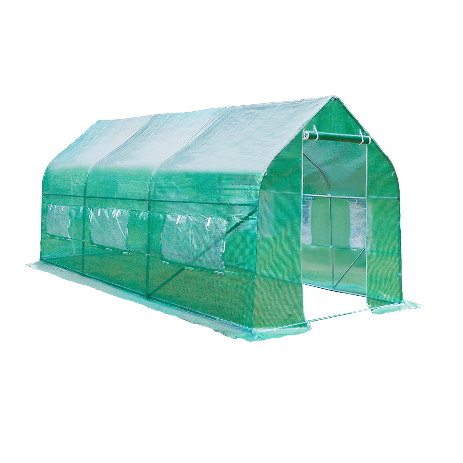 Z ZTDM 15′x7′x7' Greenhouse Kits Supplies, Protable Home Garden DIY Plants Shed, Outdoor Backyard Walk in Greenhouse Flower Protective Shelter for Window or Summer Grow Tents with Anti-UV Cover