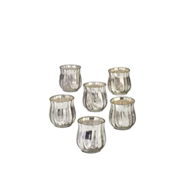 Serene Spaces Living Antique Silver Bell Votive Holder, Set of 6, Measures 2.5  Diameter and 2.75  Height