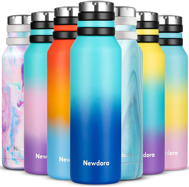 Newdora Botella de Agua Acero Inoxidable 750ml, Botellas de Frío/Caliente, Botella Termica con 1 un Cepillo de Limpieza, Botella Reutilizable para ...