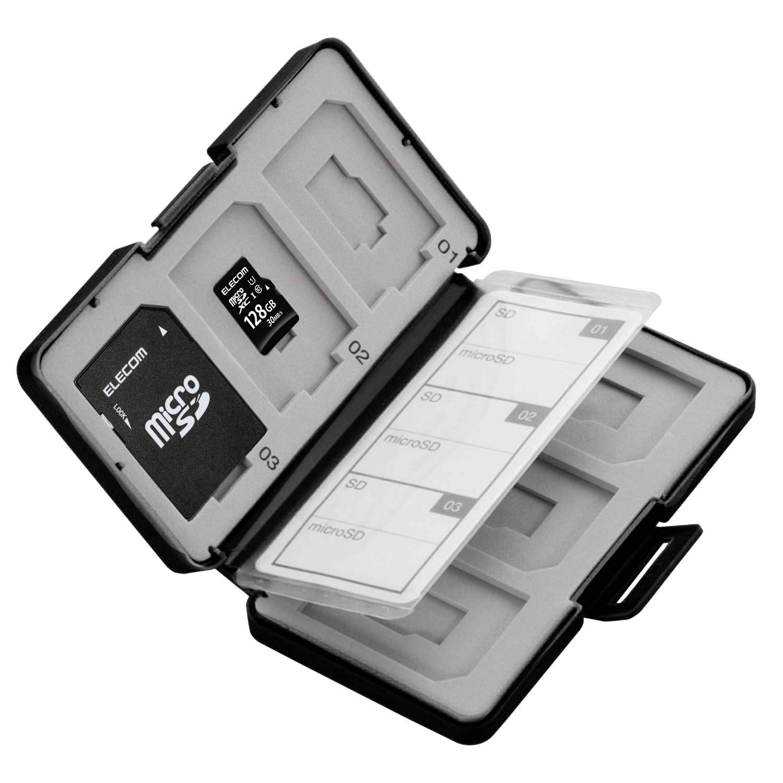 ELECOM Memory case CMC-SDCPP12BK for 6 SDS and 6 microSDs Piece Shock Resistant Black