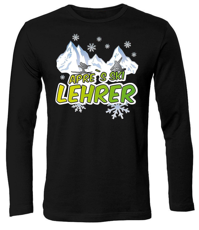 Apres Ski Lehrer Wintersport Shirt Tshirt Fanartikel Fanshirt Männer Sportbekleidung Herren Longsleeve Langarm T-Shirts