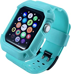 Protective Case for Apple Watch Series 3 42MM. Apple Watch Band Rugged for Series 3 with Black Buckle (Teal, 42mm)