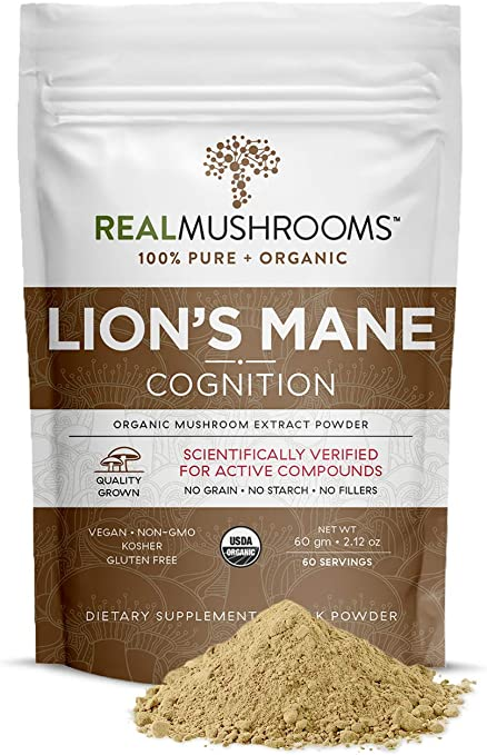 Real Mushrooms Lions Mane Powder (60 Servings) | Vegan, Gluten-Free, Organic Lions Mane Extract | Support Cognitive and Immune Health | Scientifically Verified for Active Compounds