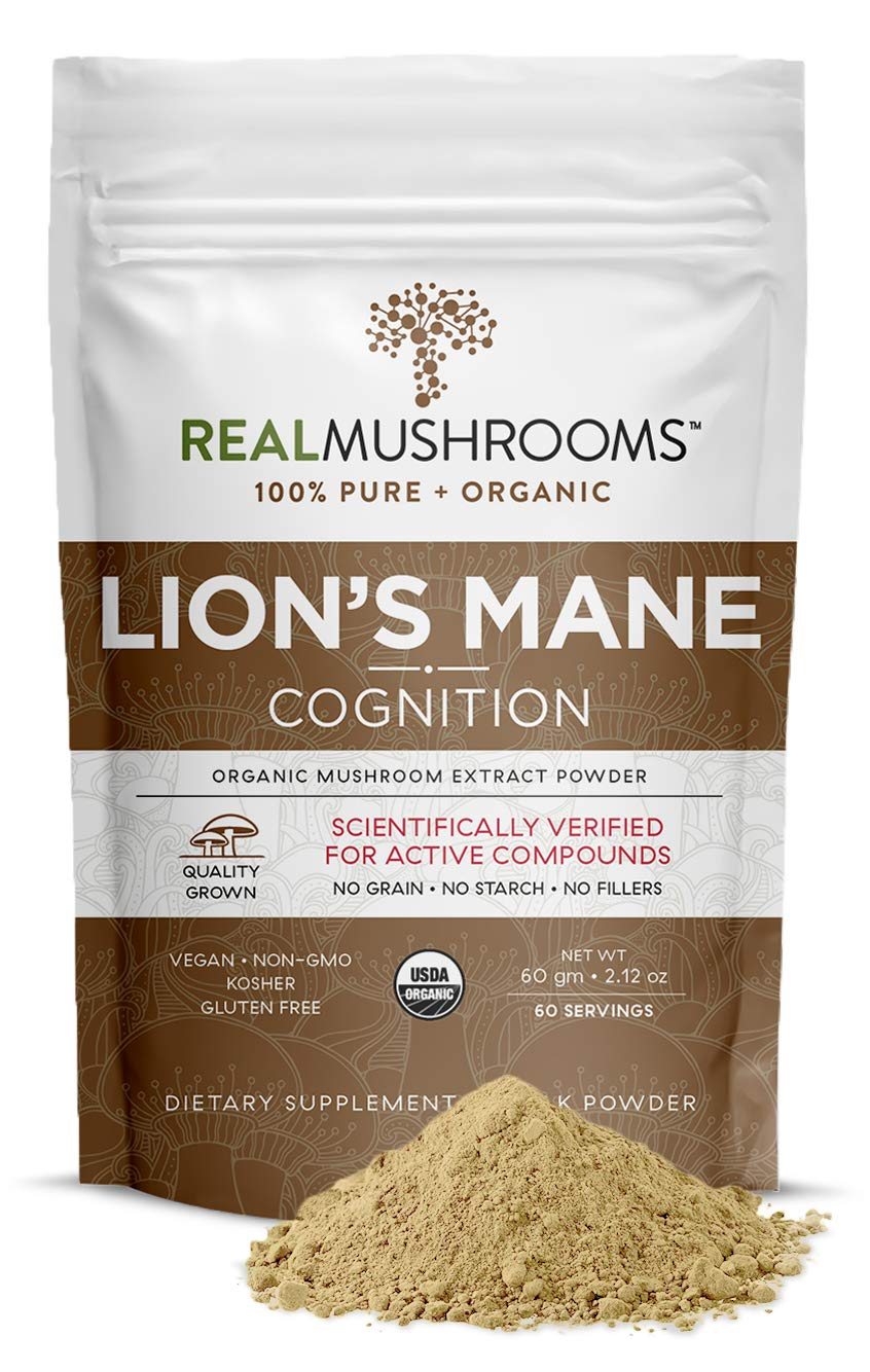 Real Mushrooms Lions Mane Powder (60 Servings)   Vegan, Gluten-Free, Organic Lions Mane Extract   Support Cognitive and Immune Health   Scientifically Verified for Active Compounds
