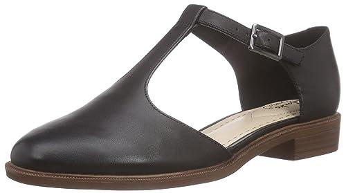 7b90a7f9b69 Clarks Women s Taylor Palm T-Bar Sandals Black (Black Leather) 7.5 ...