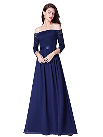 8aeef022e71 Ever-Pretty Robe de Soirée Épaules Dénudées Femme Longue en Dentelle  Manches 3 4 Élégante 07478  Amazon.fr  Vêtements et accessoires