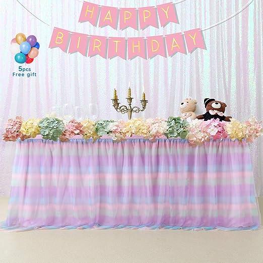 Decoracion Baby Shower Nina De Princesa.B Cool Tulle Falda De Mesa De Color Rosa 91 Cm Diseno