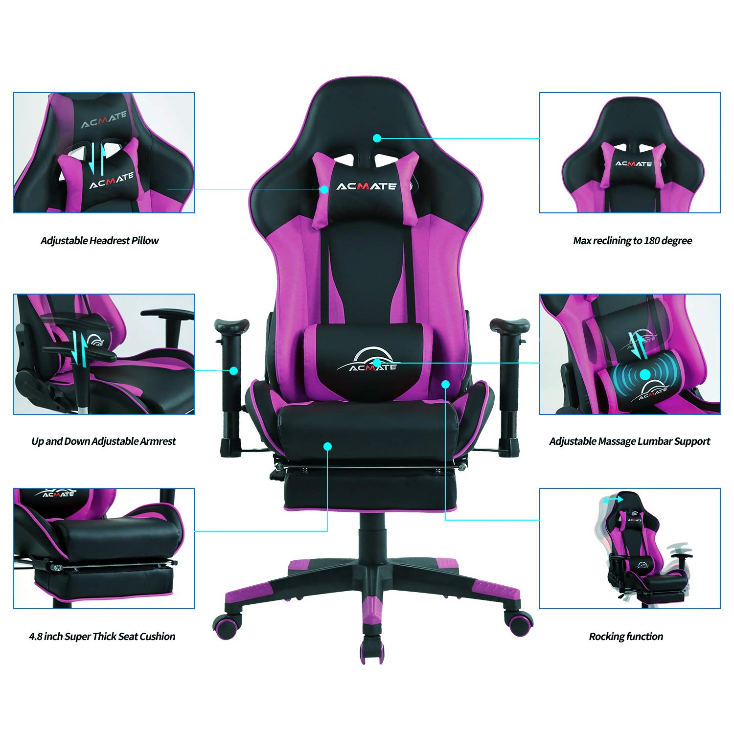 Acmate Gaming Chair Massage Gaming Computer Chair with Footrest Reclining Home Office Chair Racing Style Gamer Chair High Back Gaming Desk Chair with Headrest and Lumbar Support Purple Black
