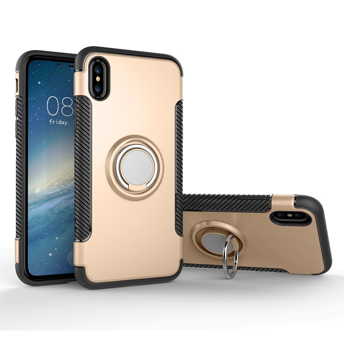 iPhone x磁気車電話スタンドケース、Inspirationc 2 in 1耐衝撃360度回転リングスタンドwith Air Vent磁気車ベントマウントゴムケースiPhone X iPhone X ゴールド B075LP1Q7R  ゴールド iPhone X