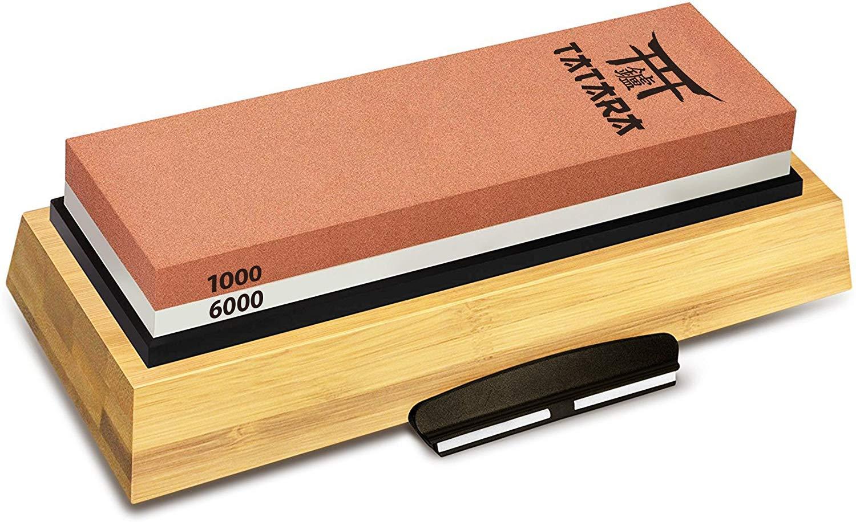 TATARA | Japanese Whetstone 1000/6000 Grit | Double Sided Knife Sharpening Stone With Honing Guide | Non-Slip Bamboo Base | Best Waterstone Sharpener by Tatara
