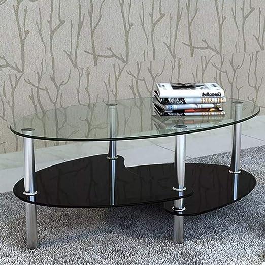 Festnight Tavolino da Salotto Design Ovale in Vetro,Tavolino da caff/è Design Ovale in Vetro,Tavolino da Salotto Design,Tavolino Salotto Moderno,Tavolino in Vetro,Tavolino Ovale 115 x 65 x 40 cm