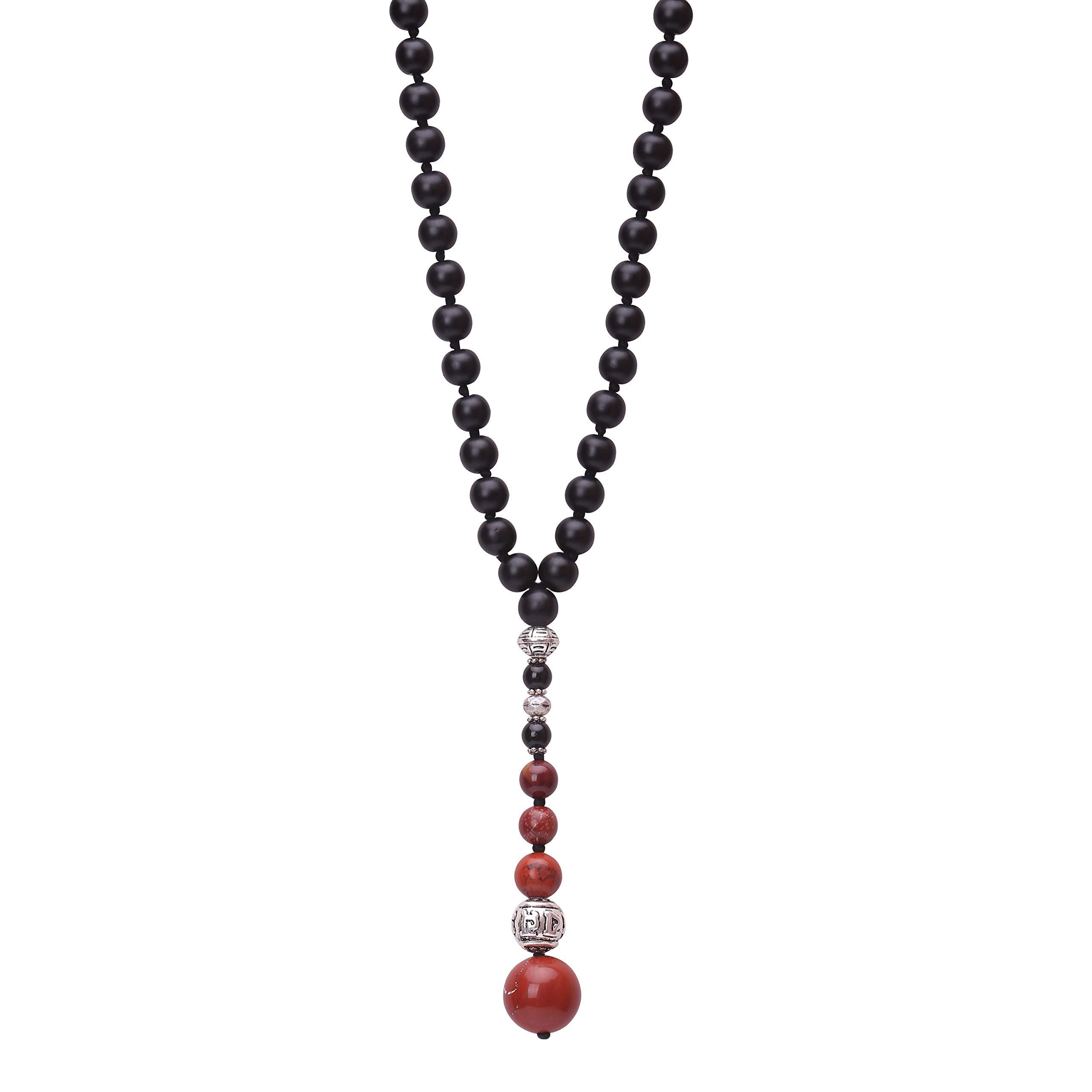 Agate Mala Beads Pendant Necklace Gemstone Beaded Prayer Handmade Y-shaped Jewelry for Women